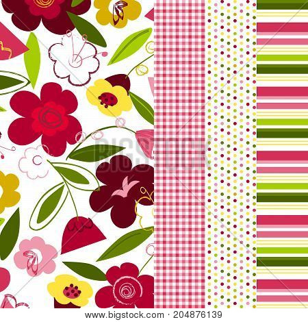 Floral pattern with coordinating gingham, polka dots and stripes for digital paper, scrapbooking, cards, invitations, announcements, gift wrap, backgrounds, borders and more.
