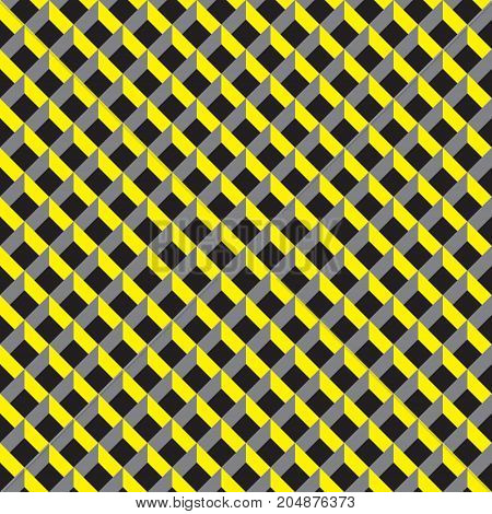 Seamless 3d grid pattern in yellow, grey and black