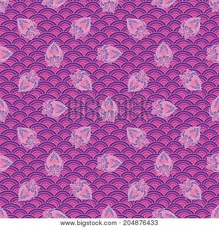 Waves And Scallops Seamless Pattern In Purple Colors