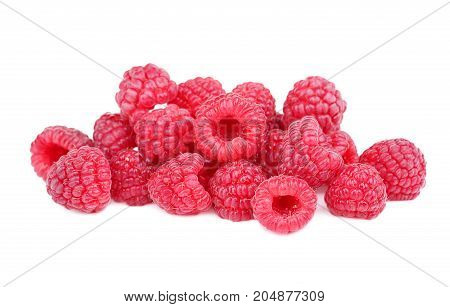 A colorful, big pile of freshly picked strawberries isolated over the white background. Close-up antioxidant, gourmet, bright pink raspberry for a sweet dessert. Natural, exotic seasonal fruits.