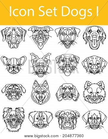 Drawn Doodle Lined Icon Set Dogs I