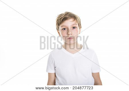 A portrait of child. funny little boy on studio white background