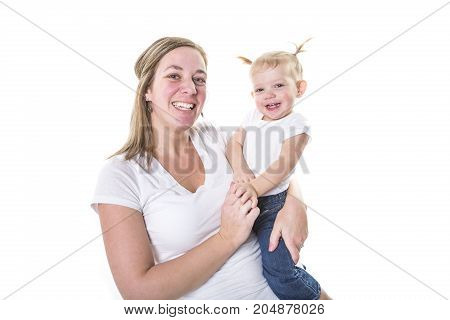 A loving mother holding baby boy isolated on white