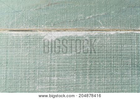 Close up of painted wooden turquoise planking. Aged and weathered grungy background texture.