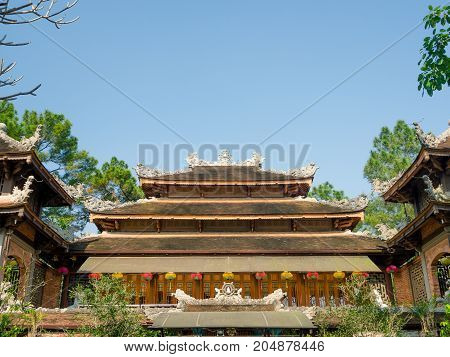 Hue, Vietnam - September 13 2017: Beautiful ancient temple with abeautiful blue sky, located in Hue, Vietnam.