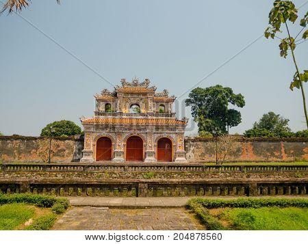 Hue, Vietnam - September 13 2017: Beautiful temple Thien Mu Pagoda. Unesco World Heritage Site. Located in Hue, Vietnam.