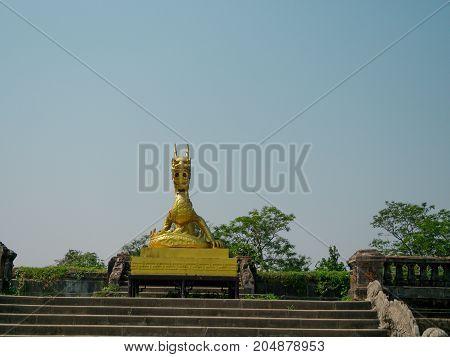 Golden sculpture of dragon, Imperial Citadel Imperial City , Hue, Vietnam