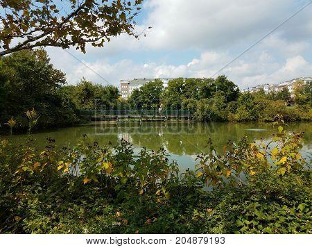 a man on a bridge looking into a lake