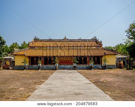 Hue, Vietnam - September 13 2017: Beautiful temple with a huge patio, located in Hue, Vietnam.