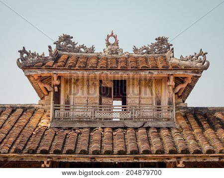 Hue, Vietnam - September 13 2017: Close up of a old beautiful temple, located in Hue, Vietnam.