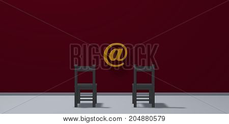chairs and email symbol - 3d rendering