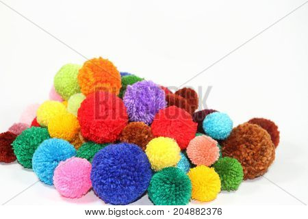 colorful wool pompoms, woven accessories fashion handicrafts