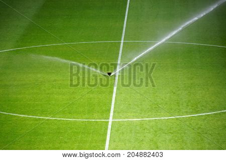 The green lawn surface of a soccer field with a irrigation system.
