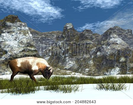 Bison in the mountain by winter - 3D render