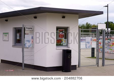 DREIEICH, GERMANY - SEPTEMBER 09: The entrance and the ticket counter of the Hahn Air Sportpark on September 09 2017 in Dreieich.
