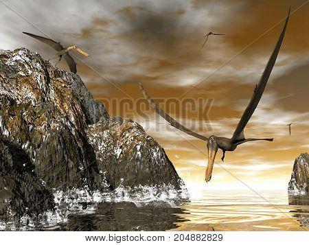 Anhanguera prehistoric birds fishing on the shoreline - 3D render