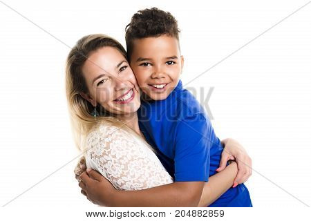 A black boy with her mother, isolated on white background