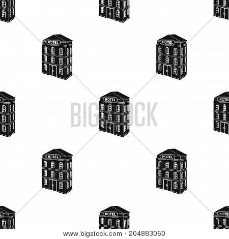 Three-storey hotel. Architectural building of the hotel single icon in black style vector symbol stock illustration .