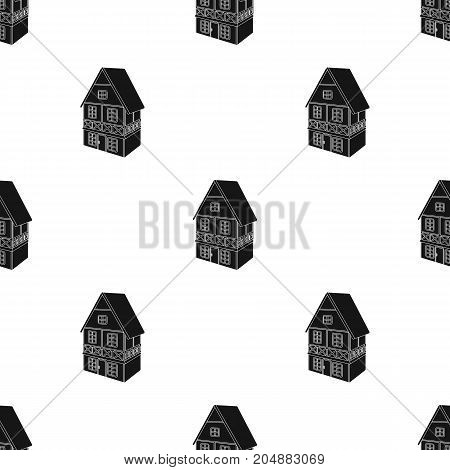Stylized English cottage. Architectural cottage building single icon in black style vector symbol stock illustration .