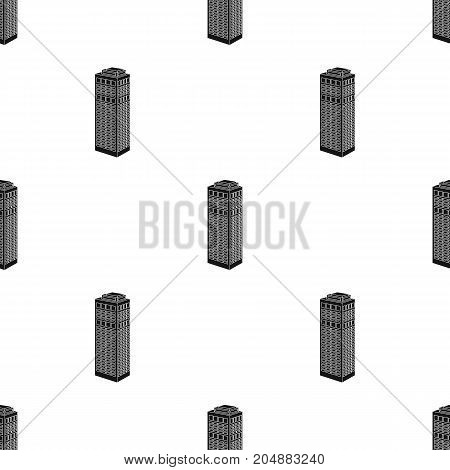 High-rise building of a skyscraper. Skyscraper single icon in black style vector symbol stock illustration .
