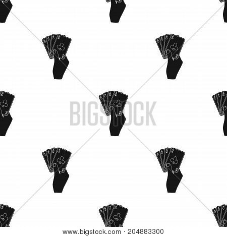 Combination of cards in hand. Playing cards single icon in black style vector symbol stock illustration .