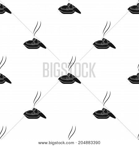 A smoking cigar in an ashtray. Smoking cigars single icon in black style vector symbol stock illustration .