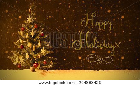 Retro Colorful Christmas Tree On Snow And Snowflakes. Black Background With English Calligraphy Happy Holidays.