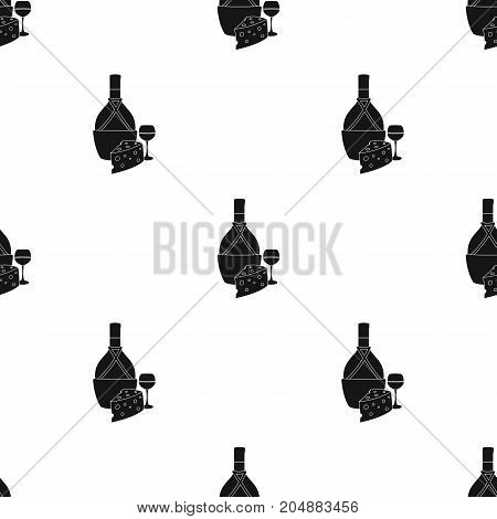 A bottle of alcohol, wine in a glass and cheese. Alcohol single icon in black style vector symbol stock illustration .
