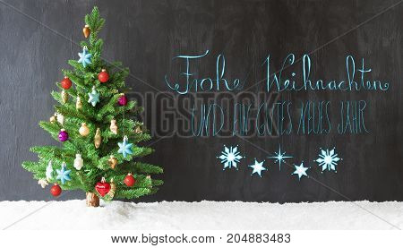 Colorful Christmas Tree On Snow. Black Background With Turquoise German Calligraphy Frohe Weihnachten Und Ein Gutes Neues Jahr Means Merry Christmas And Happy New Year.