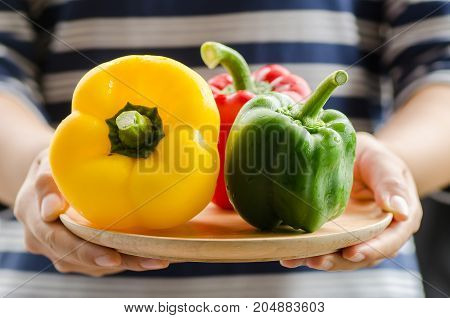 Colorful bell peppers on wooden plate holding by hand,organic vegetables for cooking