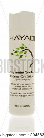 Winneconne WI - 19 September 2017: A bottle of Hayadi peppermint tea tree conditioner on an isolated background.