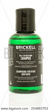 Winneconne WI - 19 September 2017: A bottle of Brickell Men's Products shampoo on an isolated background.