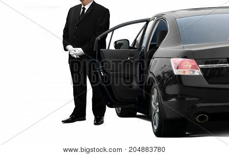 Chauffeur private service man waiting for passenger