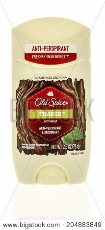 Winneconne WI - 19 September 2017: A stick of Old Spice fresher collection in timber scent deodorant on an isolated background.