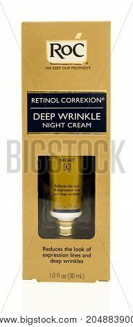 Winneconne WI - 19 September 2017: A package of Roc deep wrinkle night cream on an isolated background.