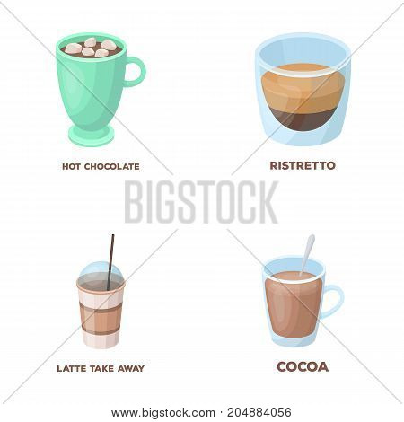 Ristretto, hot chocolate, latte take-away.Different types of coffee set collection icons in cartoon style vector symbol stock illustration .