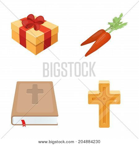 Cross, bible, gift and carrots.Easter set collection icons in cartoon style vector symbol stock illustration .