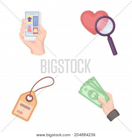 Hand, mobile phone, online store and other equipment. E commerce set collection icons in cartoon style vector symbol stock illustration .