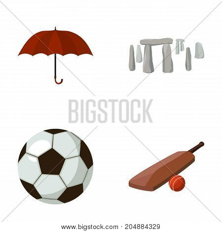 Umbrella, stone, ball, cricket .England country set collection icons in cartoon style vector symbol stock illustration .
