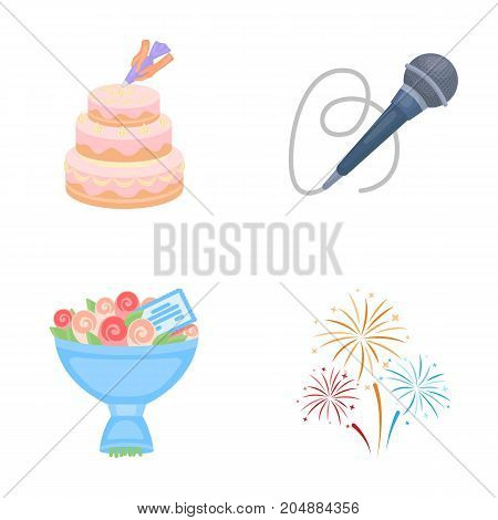 Hand making a cake with cream, a microphone with a cord, a bouquet of roses with a greeting card, a festive salute. Event services set collection icons in cartoon style vector symbol stock illustration .