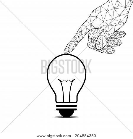 Technology Future Polygon Hand Touch Light Bulb