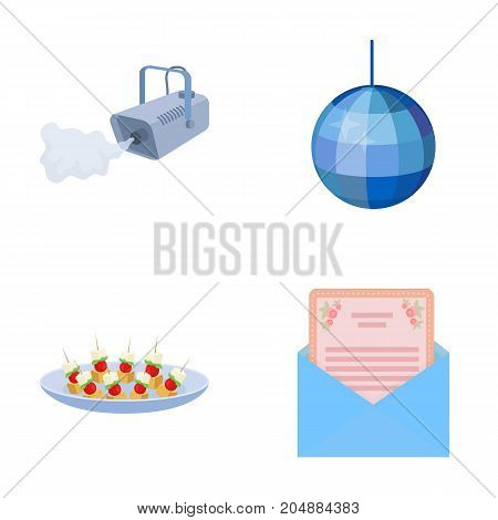 A video camera with smoke, a twirling holiday ball, a plate of sandwiches, an envelope with a greeting card. Event services set collection icons in cartoon style vector symbol stock illustration .