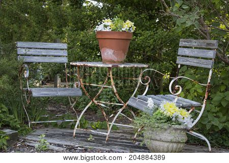 A old patio set of table and chairs