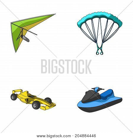 Hang glider, parachute, racing car, water scooter.Extreme sport set collection icons in cartoon style vector symbol stock illustration .