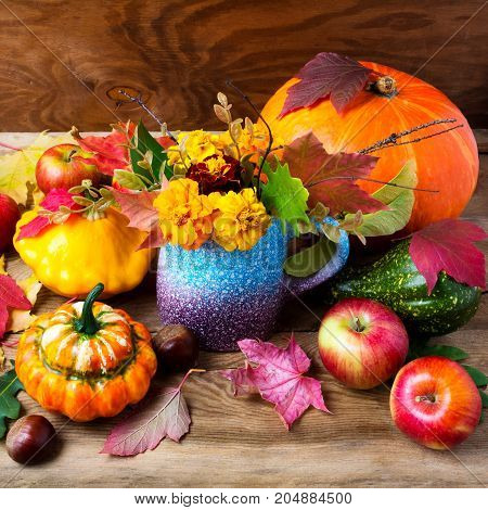 Rustic Fall Table Centerpiece With Yellow Flowers, Square.