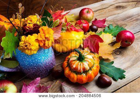 Autumn Flowers, Apples And Pumpkins Seasonal Arrangement