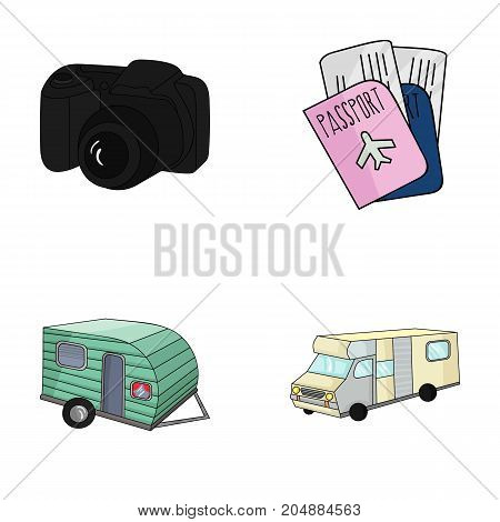 Vacation, photo, camera, passport .Family holiday set collection icons in cartoon style vector symbol stock illustration .