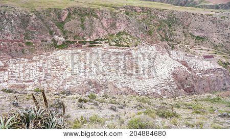 The Salineras de Maras is a salt mine near Cusco, Peru