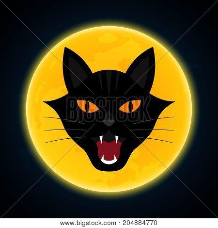 Halloween Growl Black Cat Head And Moon