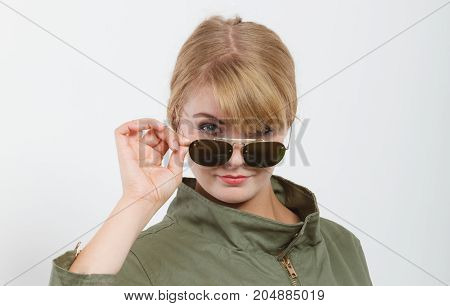 Happy Woman In Dark Green Jacket. Autumn Fashion.